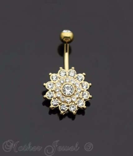 YELLOW GOLD IP SIMULATED DIAMOND DAHLIA FLOWER CLUSTER BELLY BUTTON NAVEL RING