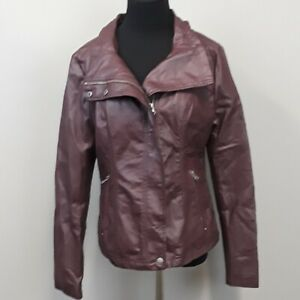 RD-Style-stitch-fix-Brown-zip-up-Faux-Leather-Moto-Jacket-women-039-s-size-Medium