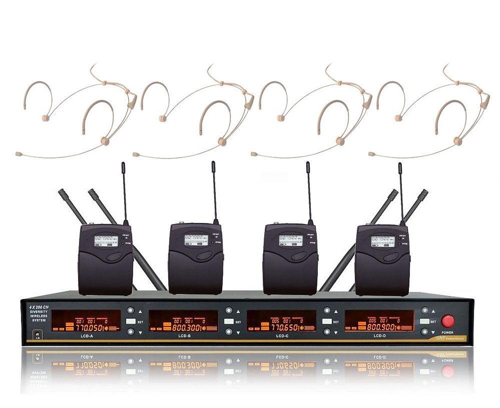 4 mic Wireless Headsets UHF Low Profile Wireless Headset Cordless Headset mics
