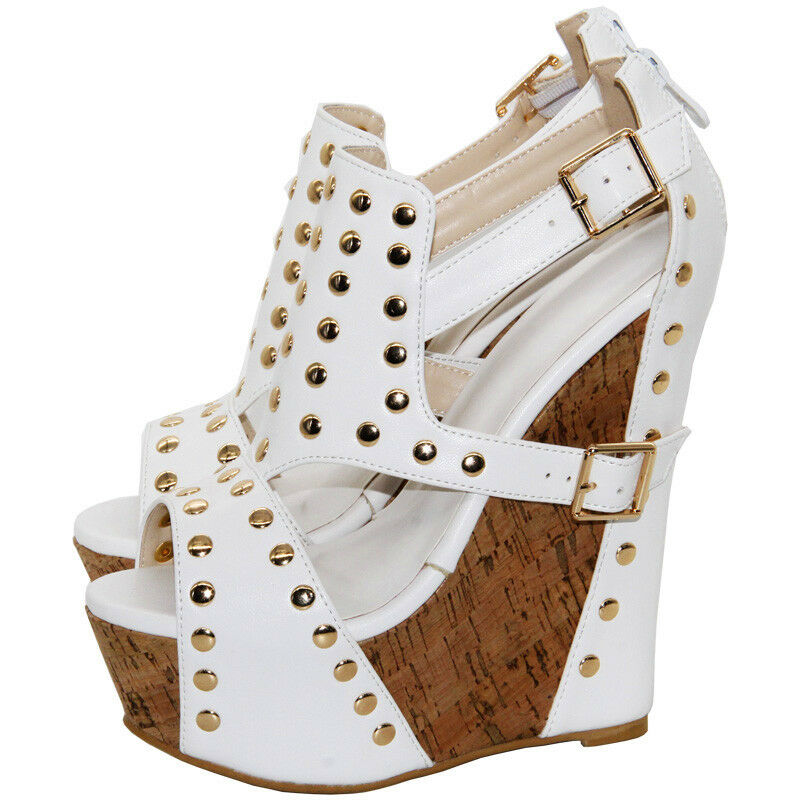 Womens High Wedge Heels Platform  Roma Rivet Peep Toes Gladiator Sandals Shoes