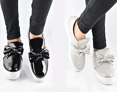 Señoras Mujeres Arco entrenadores Resbalón en Zapatillas Planas Zapatillas De Tenis Mocasines Zapatos Bombas