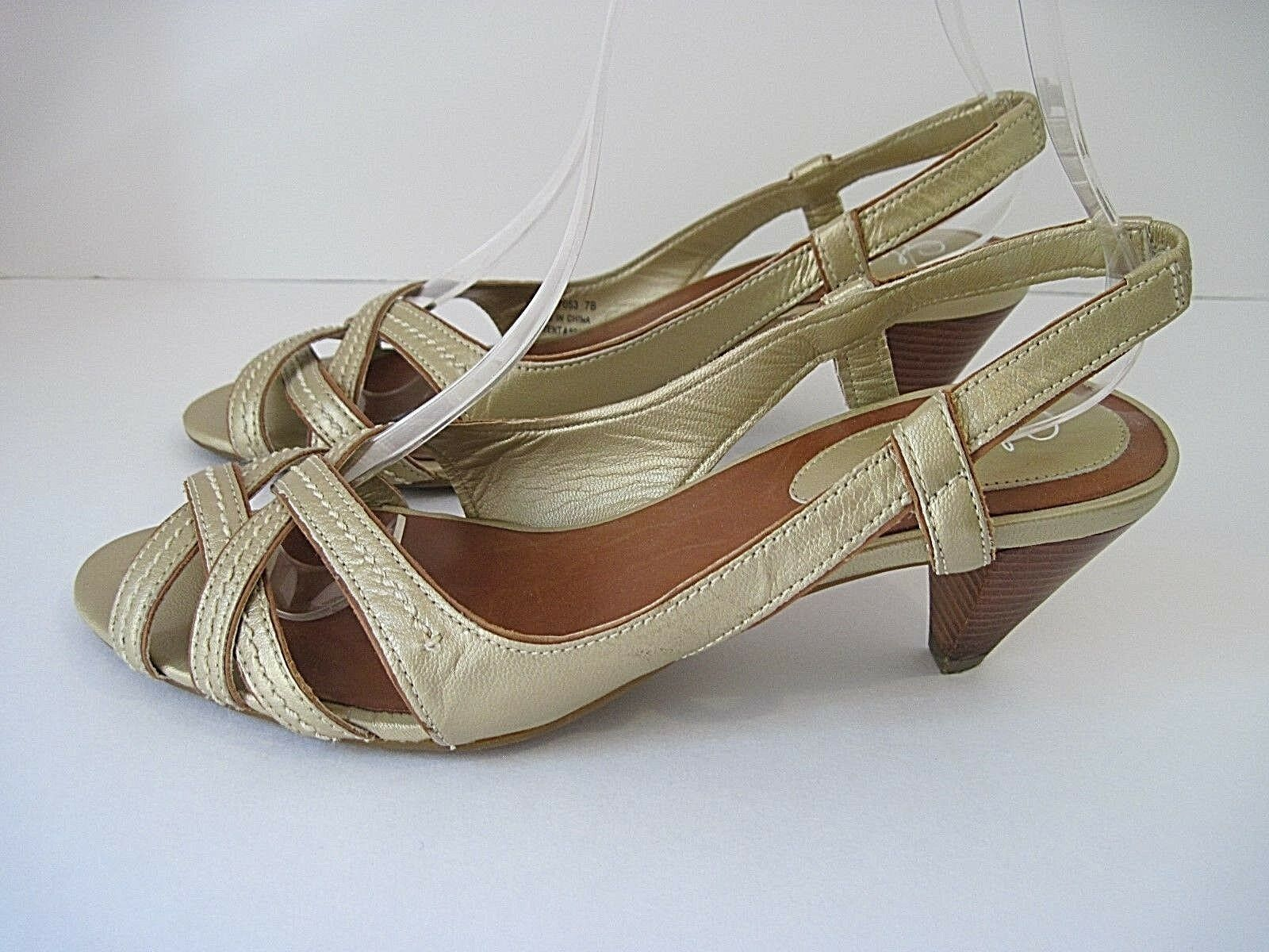 Cole Haan Womens gold Leather  Strappy Heels Sandals Open Toe Sling Backs Sz 7B