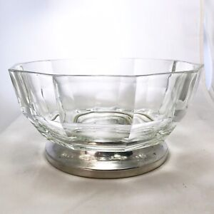 Vintage-Italian-Thick-Clear-Glass-Bowl-With-Panels-And-Silver-Plate-Base-Foot