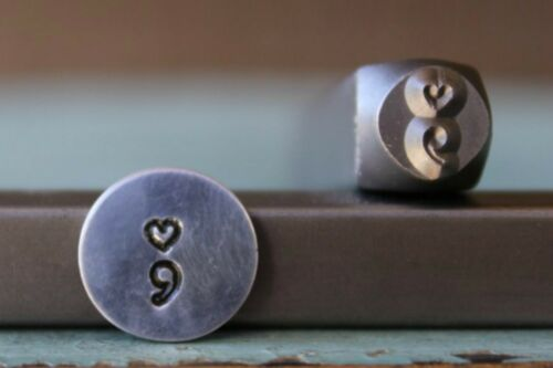 SUPPLY GUY 6mm Heart Semicolon Metal Punch Design Stamp SGCH-166