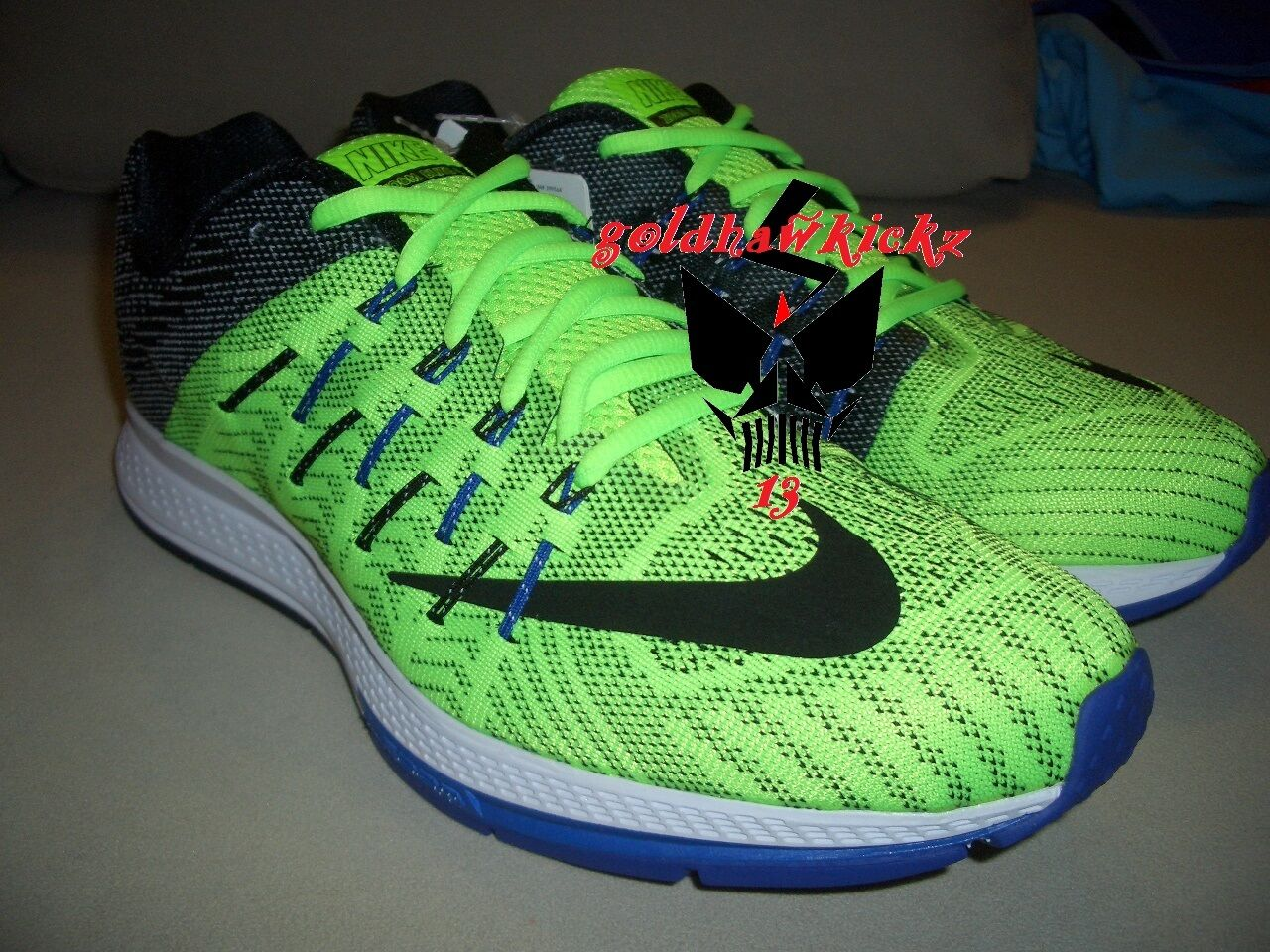 nike zoom elite 8 748588-300 electric green black white concord men running