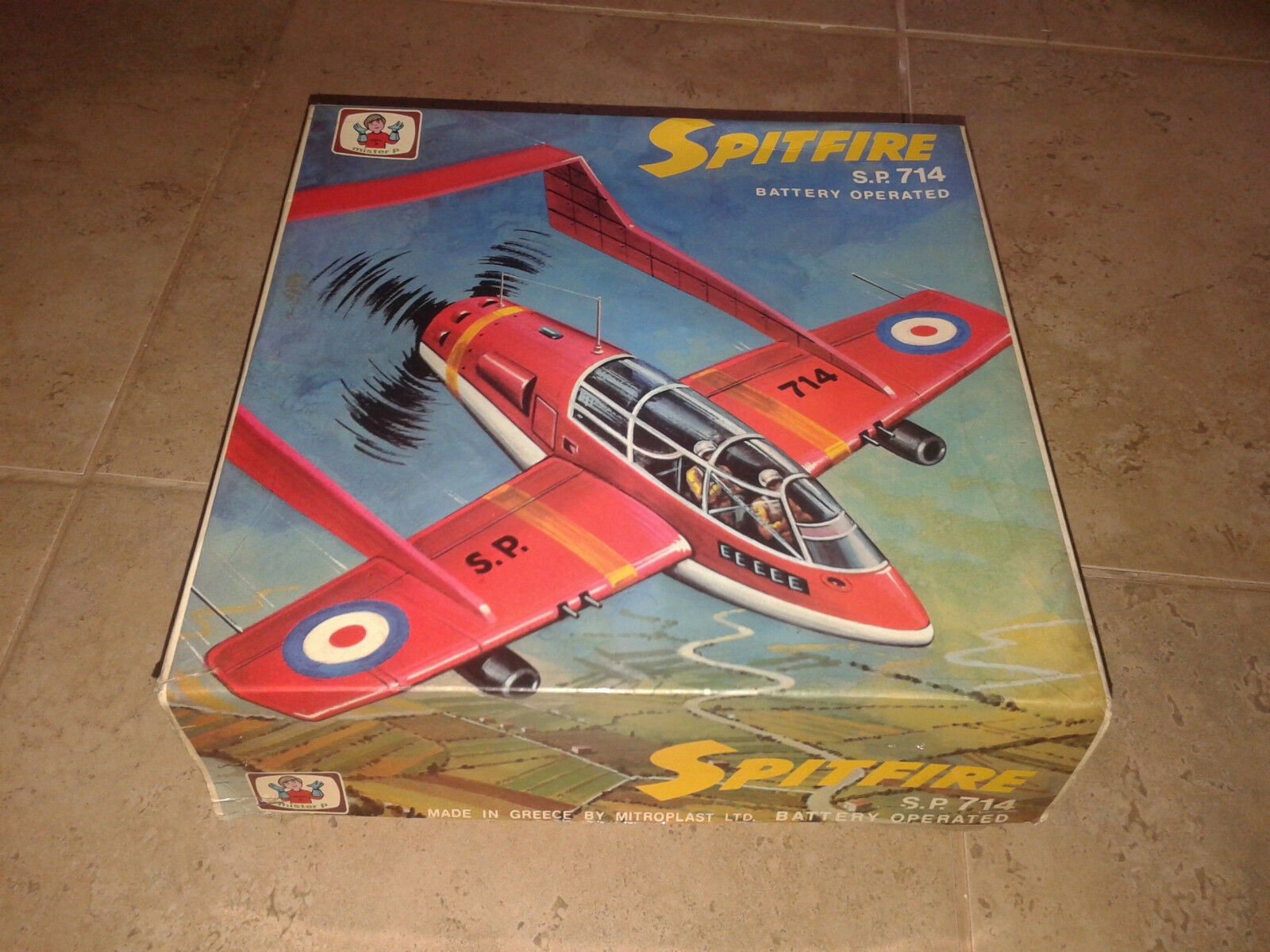 "Amazing vintage 70's ""Spitfire airplane"" S.P.714 -mister p- made in Greece  NEW"