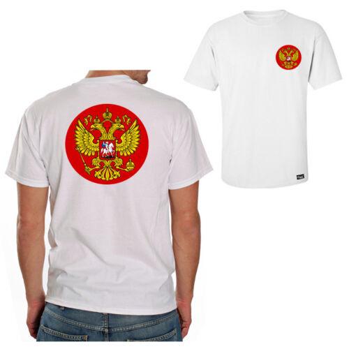 """EAKS® Herren T-Shirt /""""RUSSLAND WAPPEN/"""" weiß #3 Russia Putin Sport Fußball EM WM"""