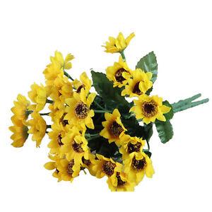 Artifical-14-Heads-Fake-Sunflower-Silk-cloth-Flower-Bouquet-Home-Floral-Wed-B2L5
