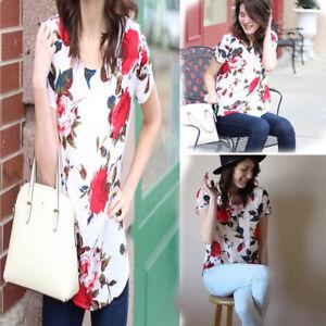 Women-Summer-Short-Sleeve-Blouse-Tops-Ladies-Floral-Loose-T-Shirt-Casual-Tee-Top