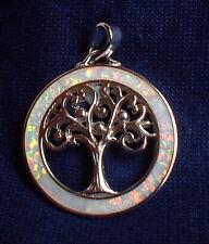 925 Silver Irridescent Rainbow Fire Opal Tree of Life Pendant~Reiki~Jewellery