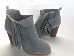 Crown-Vintage-Randi-Lt-Gray-Suede-Heels-Short-Boots-Fringes-Women-039-s-6-Excellent