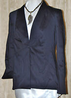 Vicki Tiel So Chic Cotton Sateen Tuxedo Jacket Black 1 Button Fold Up Cuff14/l
