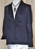 Vicki Tiel So Chic Cotton Sateen Tuxedo Jacket Black 1 Button Fold Up Cuff14/l
