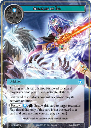 English Force of Will TCG  x 4 Shackles of Ice CFC-049 U NM-Mint