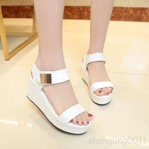 d9ac1982f852 Image is loading College-Womens-Sandals-Wedge-Heels-Summer-Korean-High-