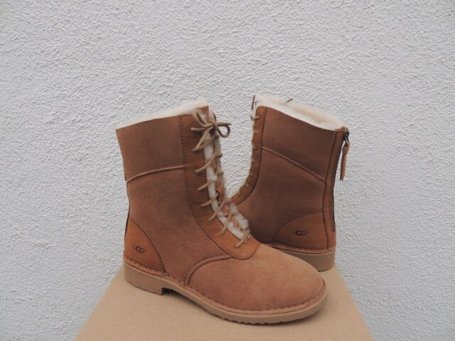 e262887fd7c UGG Daney 1017507 Chestnut Suede Lace up ZIPPER Back Womens BOOTS US 6
