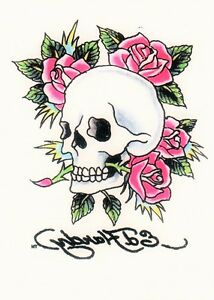 temporary tattoo ed hardy totenkopf auf rosen ebay. Black Bedroom Furniture Sets. Home Design Ideas