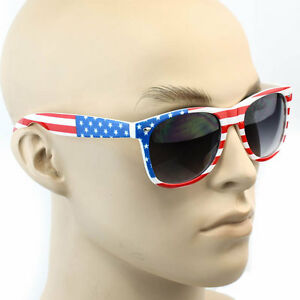 81a0613fdf14 AMERICAN FLAG USA PRINT Vintage SUNGLASSES MIRROR LENS STARS STRIPES ...