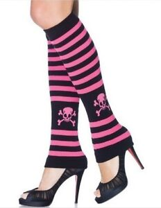 SKULL-BLACK-PINK-STRIPE-LEGWARMERS-LEG-WARMERS-YOGA-LEG-AVENUE-GREAT-WITH-HEELS