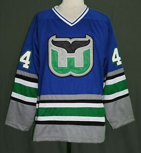 Image is loading CHRIS-PRONGER-WHALERS-RETRO-HOCKEY-JERSEY-SEWN-NEW- aebd55705