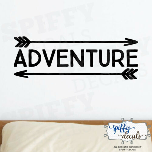Adventure Awaits Arrow Vinyl Wall Decal Decor Design Sticker Lettering Quote