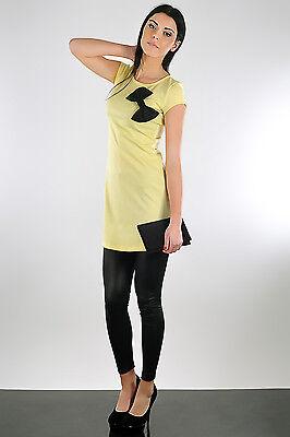 Classic Mini Dress with Bow Tunic Style Cap Sleeve Casual Size 8-12 FA106