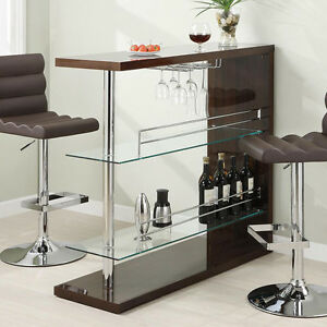 Modern Pub Home Bar Table Unit W Glass Shelves Wine Rack Cappuccino Chrome Pole Ebay