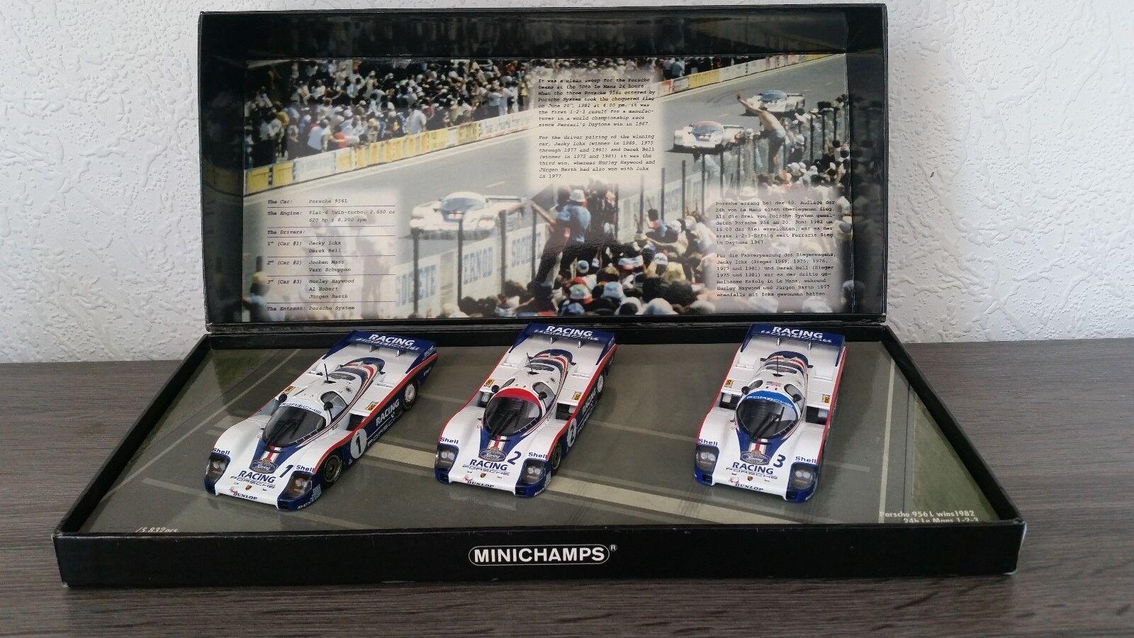 Coffret Porsche 956L Winner 1982 24h Le Mans 1-2-3 Minichamps 402826503
