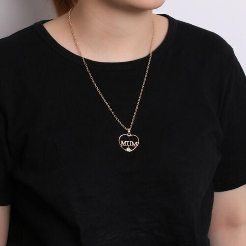 "Women/'s 18ct Gold Plated ""Mum"" Diamond Heart Shaped Chain//Necklace /& Pendant Set"