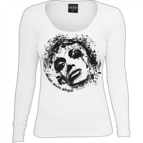 Frauen Damen Langarmshirt Music never sleeps musik fashion style premium bis XXL