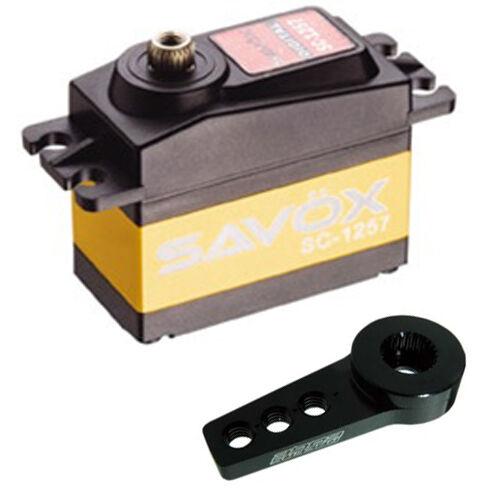 Savox SC-1257TG Super Veloce Digitale Servo W/Gratis Corno in Alluminio Bk