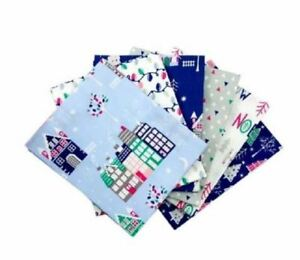 Fat-Quarter-Bundle-100-Cotton-Christmas-Village-Blue-Pack-of-6-Winter