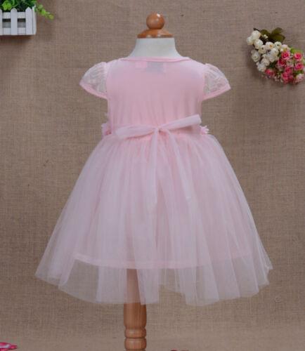 Neu Baby Taufe Partykleid in Elfenbeinfarben Rosa Blau Gelb 12-18 To 3-4 Jahre