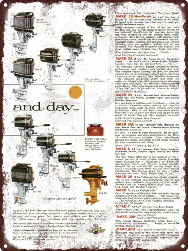 """1955 Mercury Outboard Motors Mark 40H Color Boat 55 25 Metal Sign 9x12/"""" A066"""