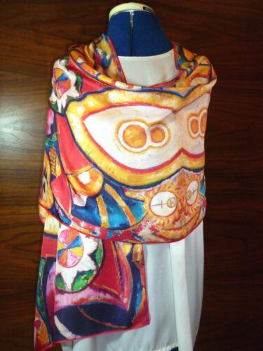 Long silk twill scarf Print of Marsden-Hartley/'s work  Multicoloured  NEW