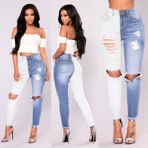 Women-039-s-Ripped-Stretch-Casual-Denim-Skinny-Jeans-Pants-High-Waist-Jeans-Trousers