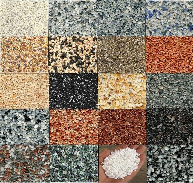 SET= 100 Kg ALLE Farben Steinteppich + 2K-Bindemittel für Bad Büro Wohnbereich