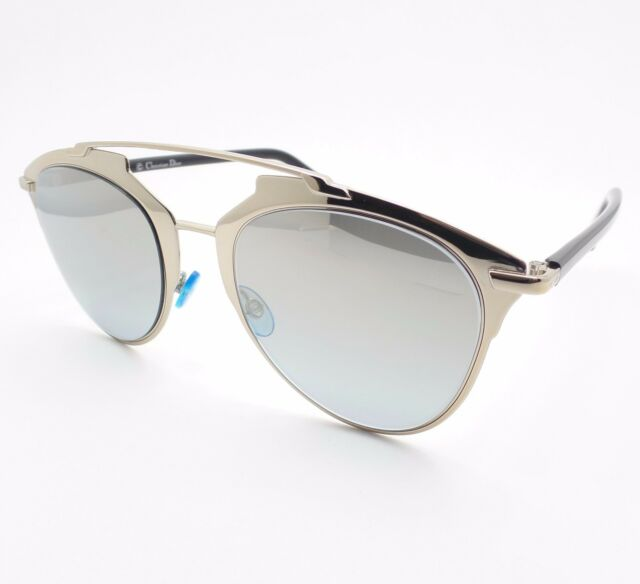 970fe017cc Christian Dior Reflected Eei0h Light Gold Black Mirror Sunglasses Authentic
