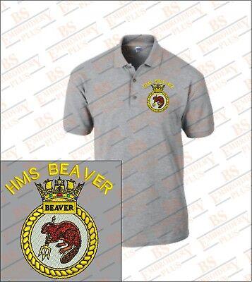 HMS BEAVER Embroidered Polo Shirts