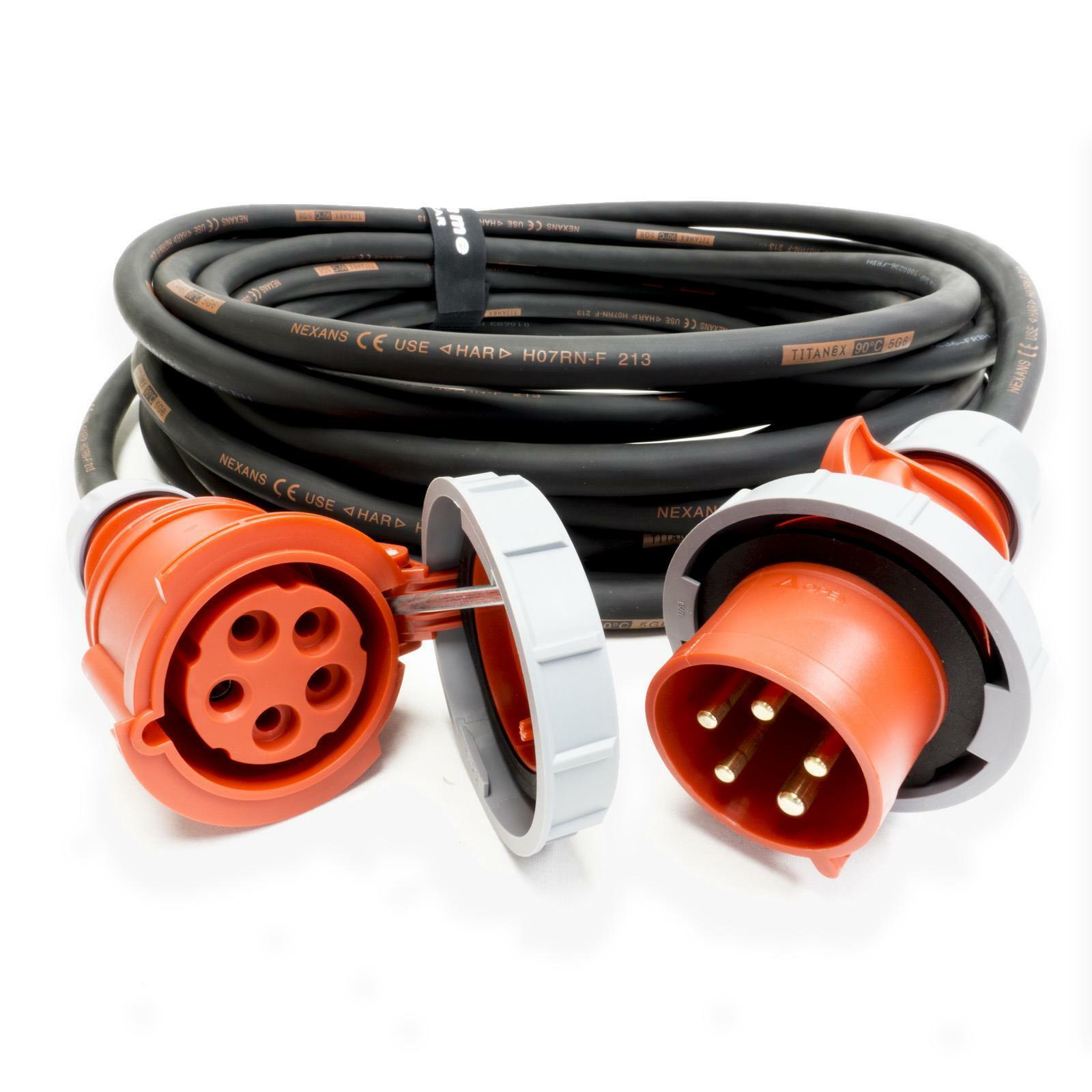 32amp Red 3 PHASE Power Cable. (5x10mm) 3P+N+E 400V. H07RN-F Rubber