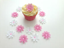14 Edible Pink/White 3D Flowers Pre Cut Wafer Cupcake Toppers