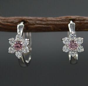 JM56-14K-Solid-White-Gold-11mm-Pink-Cubic-Zirconia-CZ-Flower-Huggie-Earrings