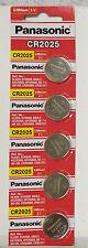 5x Panasonic Cr2025 Lithium Battery 3v Coin Cell