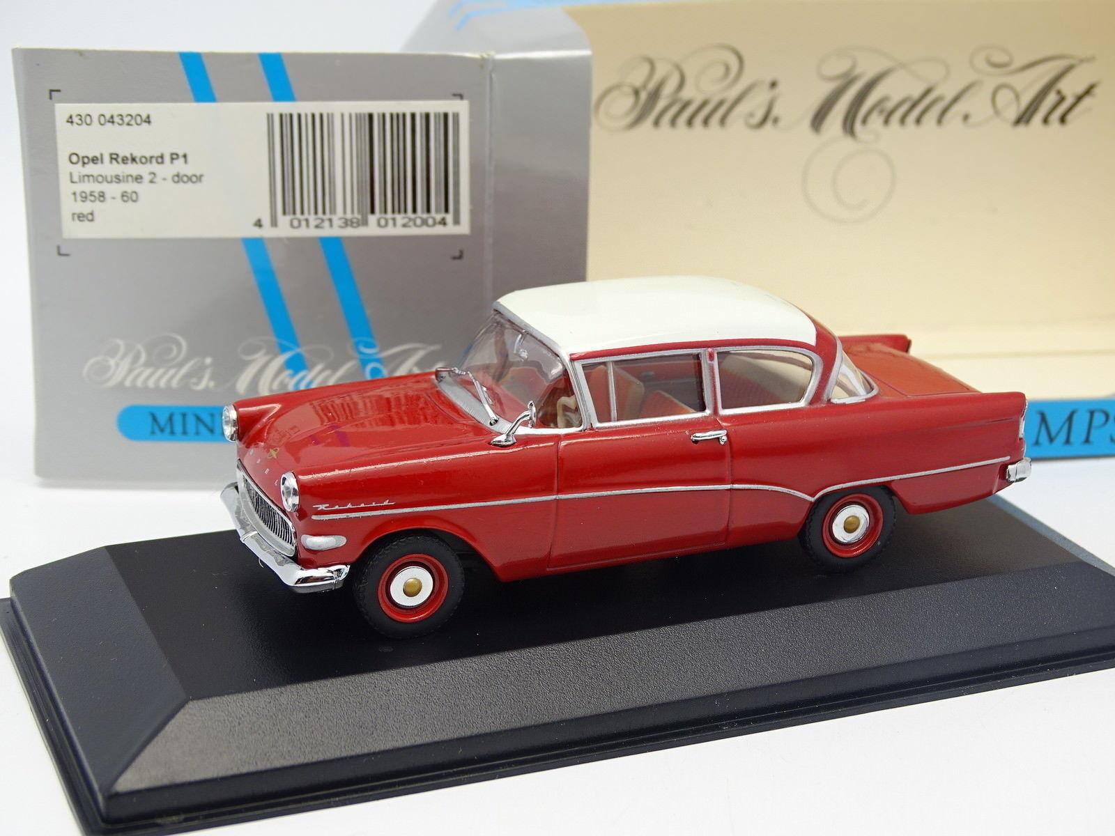 Minichamps 1 43 - opel rekord p1 2 doors 1958 red