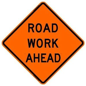 "BONE SAFETY ROAD WORK AHEAD (48"") Roll-Up Sign with Ribs..FLUORESCENT VINYL"