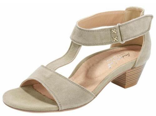 ANDREA CONTI en cuir sandale 41 taupe Véritable Cuir Fermeture Velcro T-Barrette Nouveau