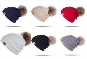 d4bb353ea46 Women s Beanie Ribbed Winter Warm Soft Knit Ski Hat with Faux Fur ...