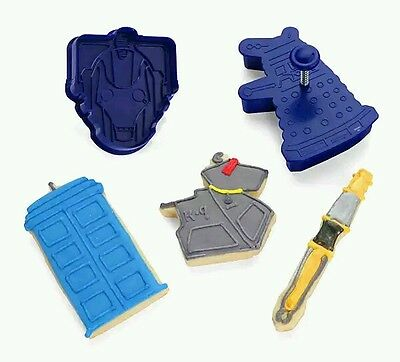 NEW Dr Doctor Who Cookie Cutters Tardis Sonic Screwdriver K-9 Dalek Cyberman Set