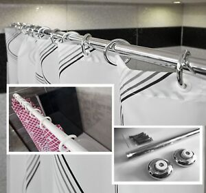 Straight Shower Curtain Rail Rod In White Or Chrome Wall