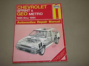 haynes repair manual chevrolet sprint and geo metro 1985 1994 rh ebay com geo metro repair manual 1996 geo metro repair manual
